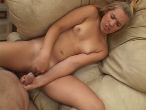 Kimberly Kiss pleasures her twat and rubs hard dick with her hands