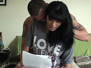 A delicious dark haired doll has her fella all over demanding her tight donut