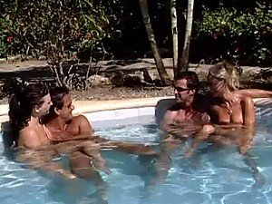 Foursome By The Pool with Hot Babes Jessica Fiorentino and Sue Diamond