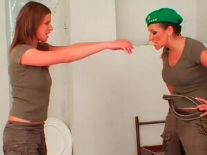 Army girls in rough lesbian femdom scene