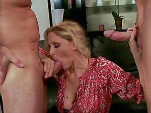 Busty Blonde MILF Julia Ann Getting Double Penetrated in MMF Threesome