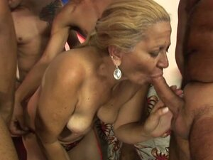 Horny granny gang fucked by lots of huge throbbing cocks
