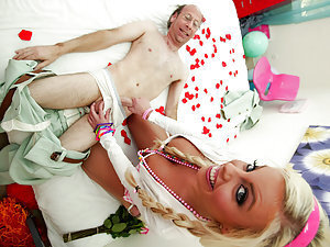 Getting a special surprise visit from a creepy old geezer, Britney gets the royal treatment, candy and old wrinkly cock! SHe loves eating hard candy and even harder cock! It's prettuy fucking creepy watching this guy drool over her huge tits and lick that
