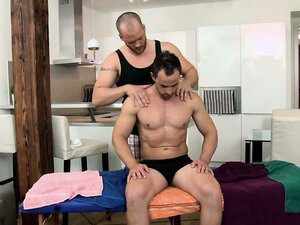 Dude jerks off for masseur and gets bj