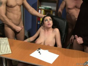 Lazy office bitch gets tied to her desk and fucked by two coworkers