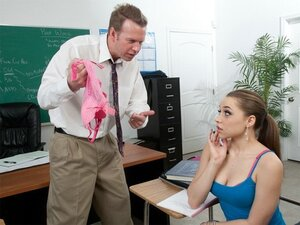 A randy college lecturer keeps the slutty girl of the class back to bang her bones
