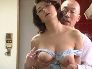 Big Breasted Japanese Mio Takahashi In Glasses Blowjob and Titjob