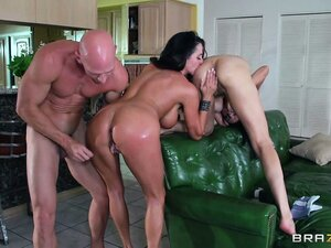 Johnny Sins squeezes his huge shaft into a hot brunette's ass