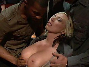 Blonde babe Dating her boss Gets Gangbanged at Bar