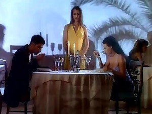 Two busty babes get fucked right at the restaurant and love it
