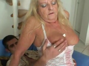 Granny in white stockings banged hardcore