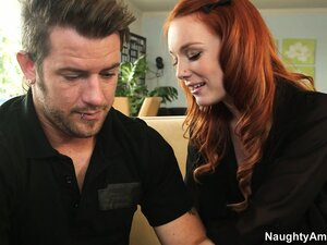 Nasty redhead Dani Jensen seduces her man and munches on his man meat