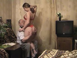 Bald old man gets his cock sucked and fucked by a sexy brunette babe