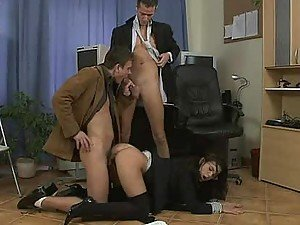 Bisexual Threesome in the Office with Brunette Rihanna Samuel