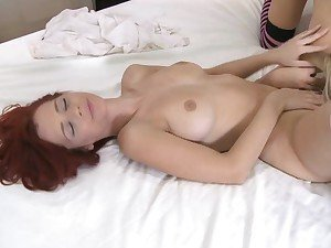 Lesbea Leg shaking orgasm for redhead Ariel