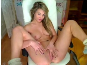 Perfect blonde spreading legs infront of webcam