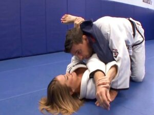 Naughty young sexy brunette karate chick gets licked and fucked by the instructor