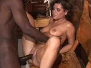 Tiny short haired cutie enjoys two black cocks