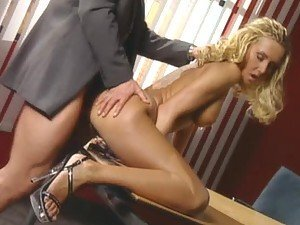 Gorgeous Blonde Secretary with Green Eyes Having Anal Sex In The Office