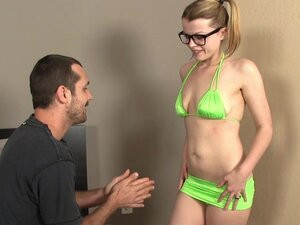 Pigtailed blonde blowing with style