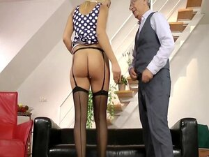 Young british babe jerks old sirs cock