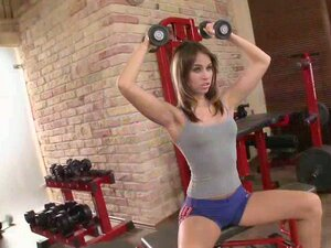 Smoking hot blondie gets it doggy style in the gym