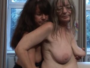 Old lady lesbians rub and touch each other