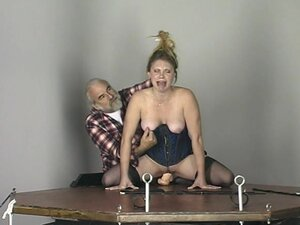 Nasty beauty being humiliated by an old fart