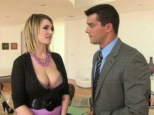 Blonde wraps her astonishing tits around her boss' hard cock