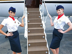 Mr. Bauterman was taking another long flight on his private plane. The attendants were looking super hot in those tight skirts and stockings. Mr. Bauterman enjoyed mistreating the help and often harassing them. They finally got fed up with him and decided