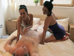 Femdom brunettes play with cock