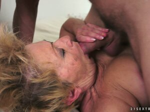 Granny likes young meat and eats his and gets on to ride on it