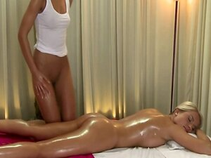 Lesbian massage for model and her horny masseuse