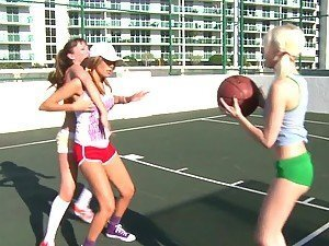Three lesbian teens fuck after playing basketball