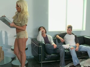 Britney Amber sucks two cocks deepthroat and gives a hot titjob