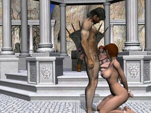 3D porn with blowjob and facial ending after group spanking