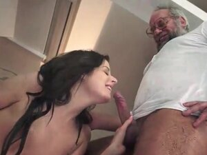 Old guy fucks tight young shaved pussy