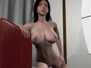 Monster fucks this busty anime babe and cums on her