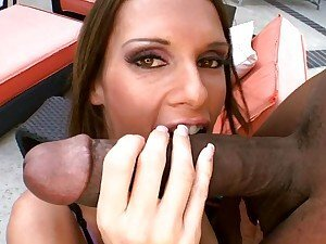 Jennifer Dark wraps her lips around a massive cock