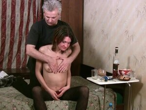 Old guy fondles skinny drunk slut