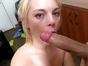 Filthy bitch throat fucks a massive throbbing boner