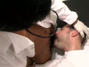 Sexy medical examination in interracial gay blowjob therapy