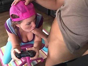 Cute Teen Getting Fucked While Playing A Video Game