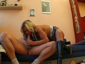 Blonde Babe Gets Rammed Hard on Couch