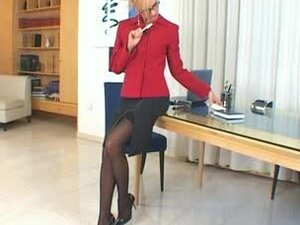 Sexy Secretary in High Heels Toying Her Butthole and Fingering Her Pussy