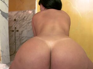 Sandra the busty brunette slut gets pounded in a bathroom
