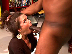 Slutty MILF Deepthroats and Squirts To a Big Black Cock