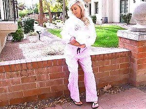 Blonde hot Callie loves meat-flashing on public and she does it everywhere