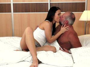 Young beauty Denise Sky fuck with an old man