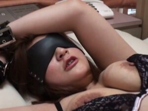 Blindfolded Handcuffed Asian Throat Fucked Before Riding Cock